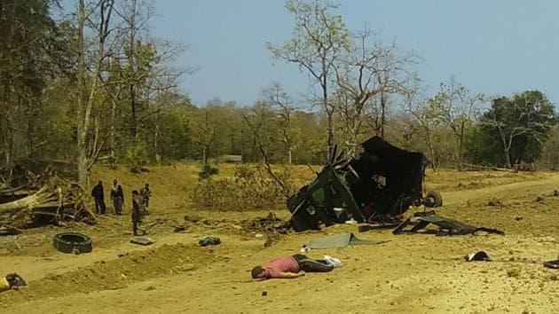 The rebels used a lot of explosives to blow up the vehicle, an official said.(HT Photo)