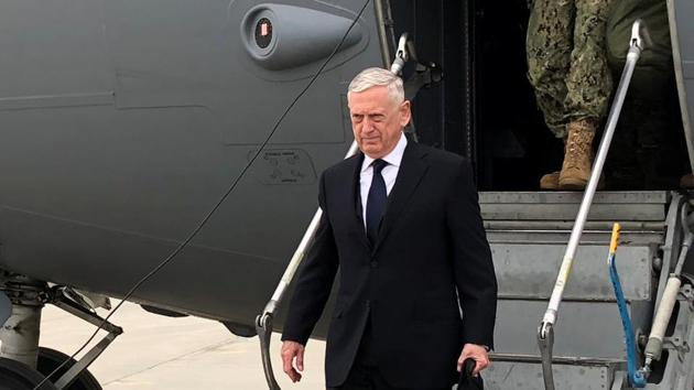 US defence secretary Jim Mattis lands in Kabul on March 13, 2018 on an unannounced trip to Afghanistan.(Reuters)