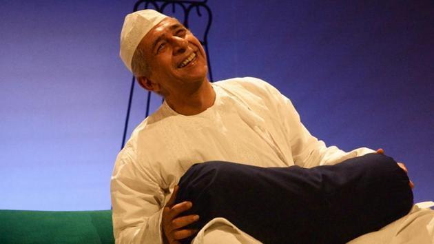 Actor Naseeruddin Shah from the scene of a play, Ismat Apa Ke Naam.