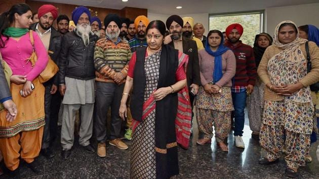 <p>External Affairs Minister Sushma Swaraj meets with family members of Indians stuck in Iraq, at Jawahar Lal Bhavan in New Delhi on February 07, 2016. Swaraj...