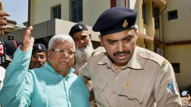 Former Bihar chief minister Lalu Prasad leaves special CBI court after being pronounced guilty in the fourth Dumka multi-crore fodder scam case in Ranchi last week.(PTI File Photo)