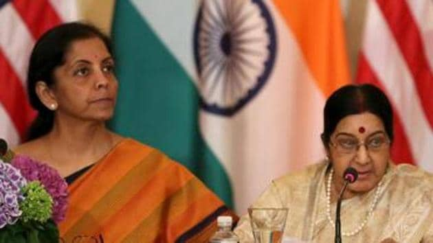 Sushma Swaraj and Nirmala Sitharaman will meet their Chinese counterparts on the sidelines of SCO ministerial summit in Beijing from April 24-26.(Reuters File Photo)