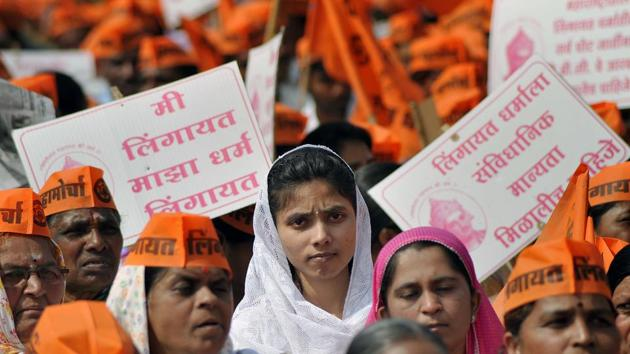 Members of the Lingayat community during a protest march in Sangli demanding a separate religion status in December 2017.(REPRESENTATIONAL PHOTO/HT FILE)