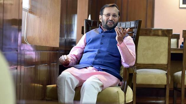 Minister of human resource development Prakash Javadekar also said the government was setting up online learning courses. The government will transform education by providing 15 lakh digital blackboards from Class 9 to the undergraduate level.(Raj K Raj/HT File Photo)