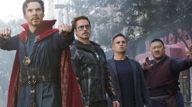 Benedict Cumberbatch, Robert Downey Jr, Mark Ruffalo and Benedict Wong in a still from Avengers: Infinity War.