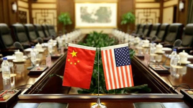 Flags of US and China are placed for a meeting between secretary of agriculture Sonny Perdue and China's minister of agriculture Han Changfu in Beijing, China.(Reuters File Photo)
