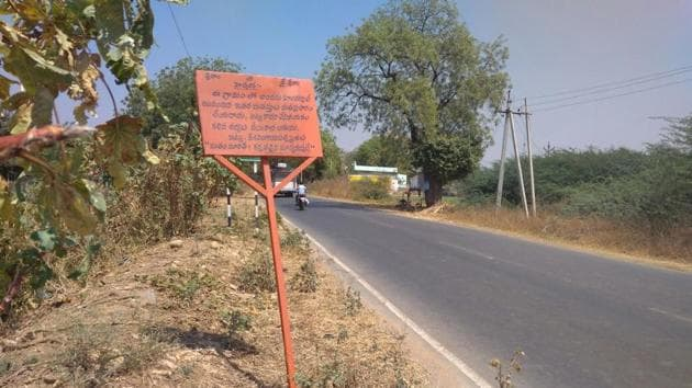 """Last year, on the occasion of Lord Ram's birth, the village elders had declared their village """"Hindus only"""", and put up a saffron board at the entrance of the village, saying, """"This village comprises only Hindus.(HT Photo)"""