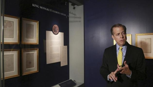 Letters from Thai king to US President Abraham Lincoln on display at Bangkok ex...