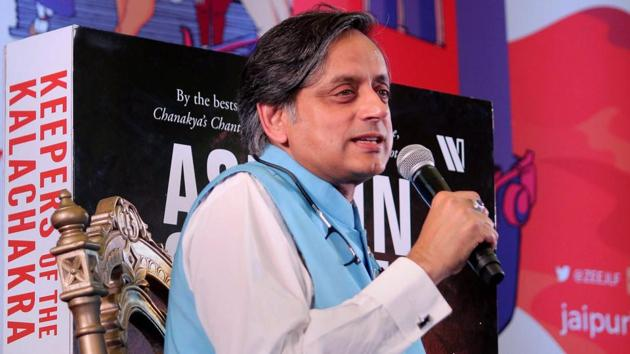 Writer and politician Shashi Tharoor speaks during his session at Jaipur Literature Festival 2018 .(PTI File Photo)