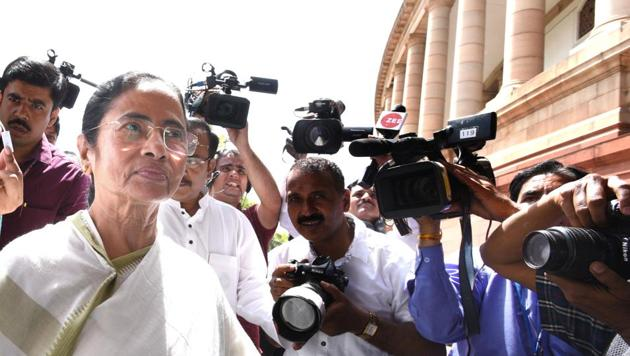 West Bengal chief minister Mamata Banerjee arrives at the Parliament in New Delhi on Tuesday.(Arvind Yadav/HT Photo)