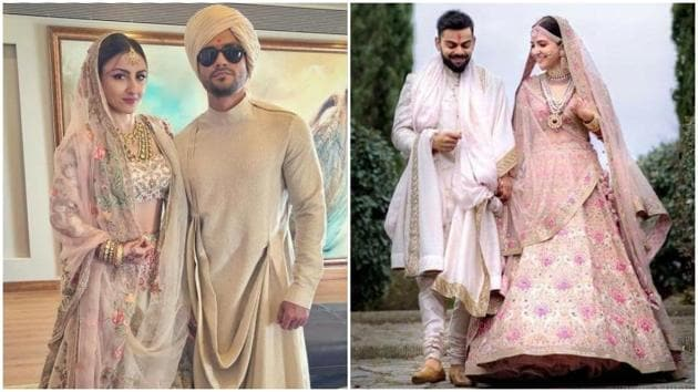 It might have been a coincidence, but we can't help but be reminded of actor Anushka Sharma's wedding lehenga when we look at the lehenga actor Soha Ali Khan wore. (Instagram)
