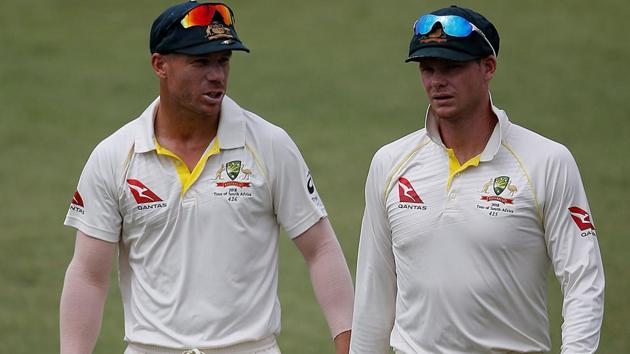 David Warner will never captain the Australian cricket team while Cricket Australia has banished Steven Smith from captaincy duties for two years. Both face 12-months suspensions each.(AFP)