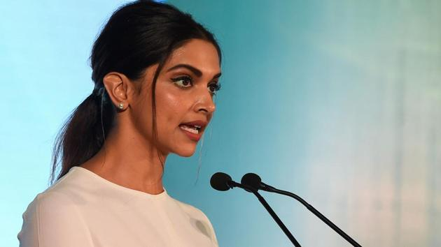 Deepika Padukone, founder of the Live Love Laugh Foundation, speaks during the unveiling event for a report on the public perception towards mental health in India, in New Delhi.(AFP)