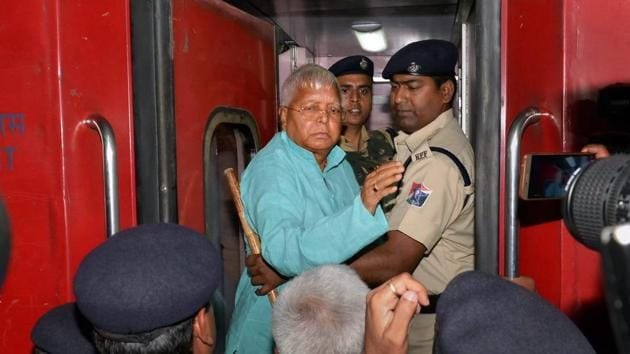 Former Bihar Chief Minister and RJD Supremo Lalu Prasad Yadav leaves for Delhi's All India Institutes of Medical Sciences (AIIMS) from Ranchi Railway Station in wake of his deteriorating health on Wednesday.(PTI Photo)
