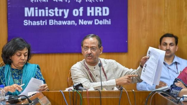 Education secretary Anil Swarup announces the re-examination dates for CBSE's Class 10 Maths and Class 12 Economics papers that were cancelled after an alleged leak, in New Delhi on Friday.(PTI)