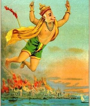 Hanuman in Lanka, by Raja Ravi Varma. Indians love the 'action hero' personality of Hanuman, but the wise and gentle giant is also upheld as an ideal of humility and devotion despite being a superstar.