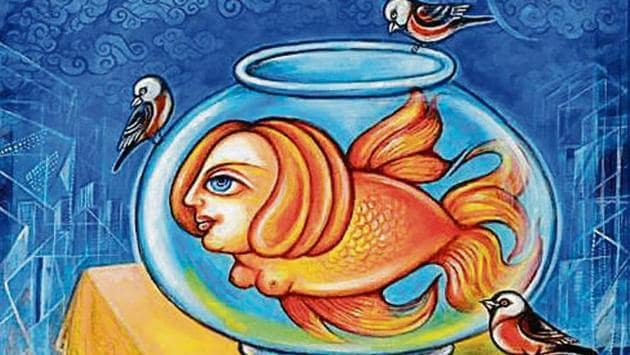 The painting, 'Mermaid in the Fish Bowl'.(PHOTO: KAVITA SINGH)