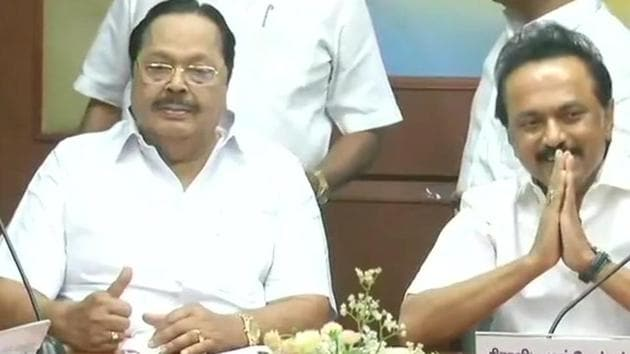 DMK working president MK Stalin at the all-party meet in Chennai on Sunday.(ANI)