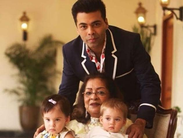 Karan Johar and his happy family with mother Hiroo and children Yash and Roohi.(Instagram)