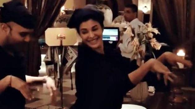 Jacqueline Fernandez and her friend, makeup artist Shaan Muttathil, break into the Dame Tu Cosita moves.