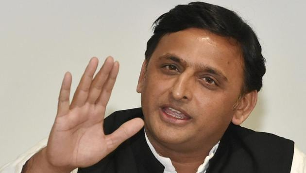 Samajwadi Party president and former Uttar Pradesh chief minister Akhilesh Yadav at a press conference at the party office, in Lucknow.(PTI File Photo)