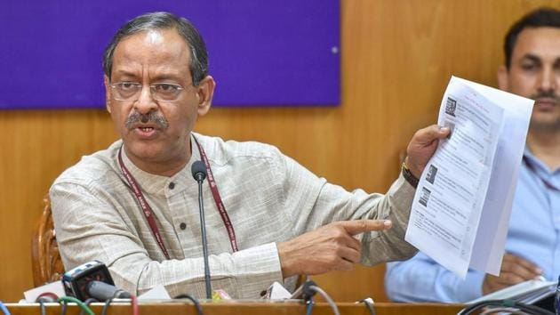 Education secretary Anil Swarup announces the re-examination dates for the Central Board of Secondary Education (CBSE) Class 10 Maths and Class 12 Economics papers that were cancelled after the alleged question papers leak during a press conference, in New Delhi on Friday.(PTI Photo)