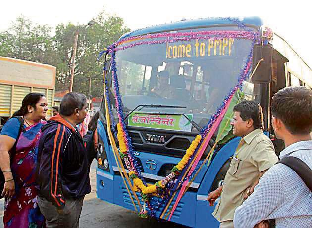Ladies special PMPML bus service which hit the road on International Women's day on March 8, 2018.(HT PHOTO)