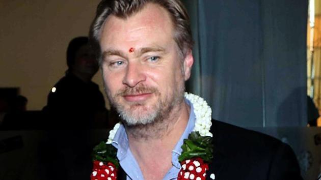 Christopher Edward Nolan visiting the projector room at Carnival IMAX cinemas in Mumbai.(AFP)