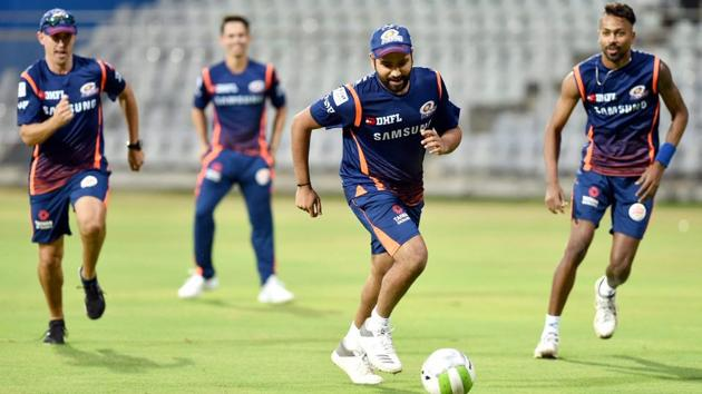 Mumbai Indians players during a practice session ahead of IPL 2018 at Wankhede Stadium in Mumbai on Sunday.(PTI)