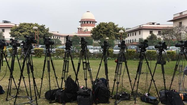 New Delhi, India - Feb. 12, 2018: A view of the Supreme Court in New Delhi, India, on Monday, February 12, 2018. (Photo by Sonu Mehta/ Hindustan Times)(Sonu Mehta/HT PHOTO)