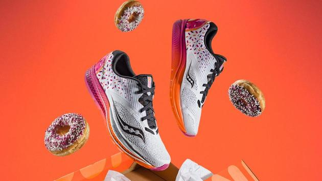 The orange and pink sneakers are specially designed for Boston Marathon, which is scheduled for April 16.(Dunkindonuts.com)