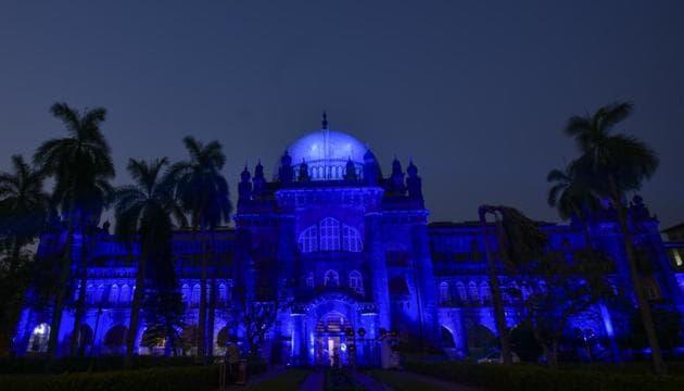 Chhatrapati Shivaji Maharaj Vastu Sangrahalaya lit in blue on World Autism Awareness Day(Kunal Patil/HT)