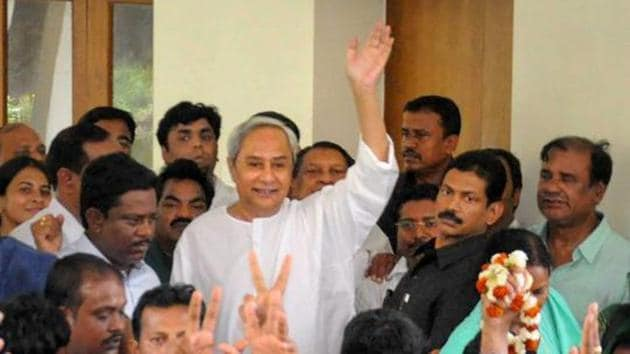 Odisha chief minister Naveen Patnaik in Bhubaneswar after the party candidate Rita Sahu won the Bijepur by-election(PTI)