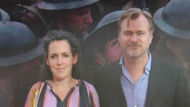 Hollywood filmmaker Christopher Nolan with his wife Emma Thomas during the screening of film Dunkirk, in Mumbai.(IANS)