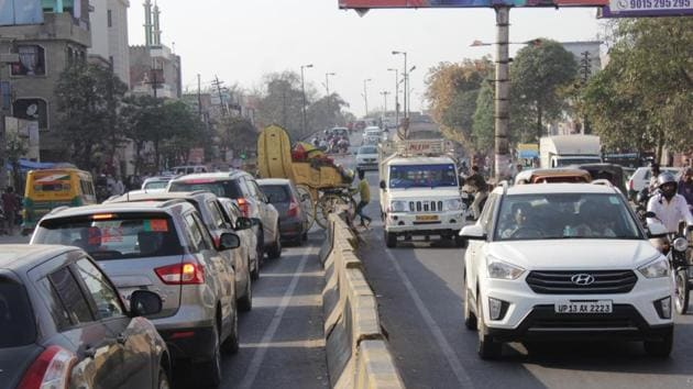 The project is to connect Ghanta Ghar to Bhatia Morh, one of the most congested routes in Ghaziabad(Sakib Ali/HT File)