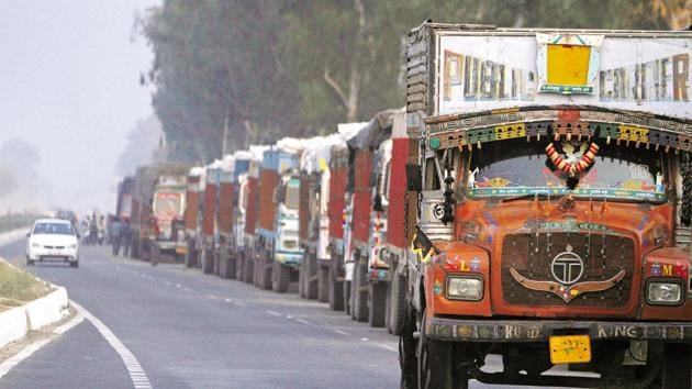 The GST provision requiring transporters to carry an electronic waybill or e-way bill when moving goods between states was implemented from yesterday to check rampant tax evasion and boost revenues.(HT Photo)