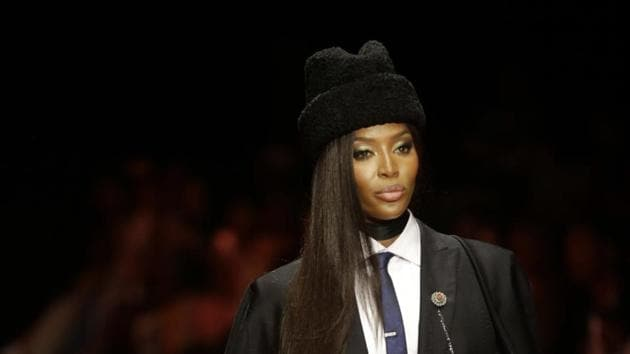 British model Naomi Campbell displays an outfit by designer Ozwald Boateng during the ARISE Fashion Week event in Lagos, Nigeria.(AP)