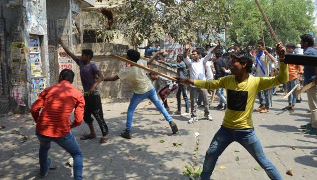 Protesters resorted to stone pelting in Meerut.(HT)