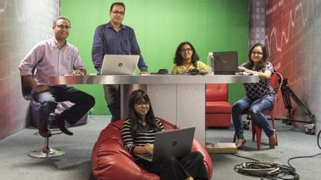 The team behind Boomlive, an independent digital journalism initiative aimed at busting fake news, at their office in Mumbai.(Aalok Soni/HT PHOTO.)