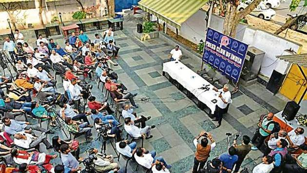 Journalists hold a meeting on I&B ministry's press release about fake news, at Press Club of India in New Delhi on Tuesday.(PTI Photo)