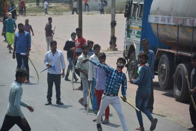 Protest in Meerut.(HT Photo)
