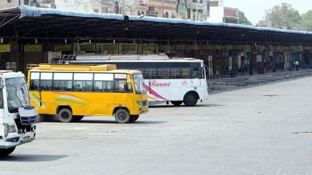 The bus stand in Patiala wears a deserted look as PRTC had suspended bus services during the bandh on Monday to ensure safety of passengers and its buses.(Bharat Bhushan /HT)