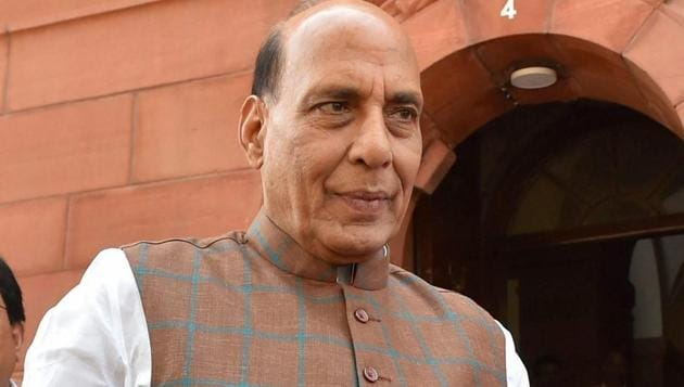 Union home minister Rajnath Singh during the Budget session at Parliament House in New Delhi on Tuesday.(PTI)