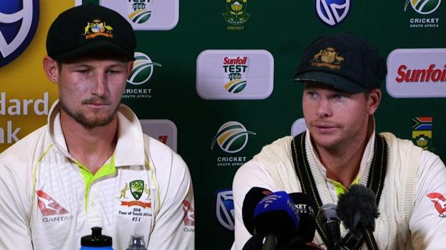 Steve Smith (R) and David Warner (not in picture) were handed one-year bans for the role in the ball-tampering scandal, while Cameron Bancroft (L) was given a nine-month ban.(AFP)