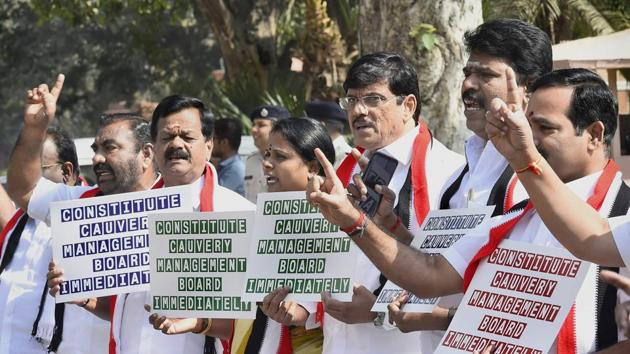 AIADMK MPs protest at Parliament House demanding creation of Cauvery Water Management Board during the second phase of budget session in New Delhi.(PTI)