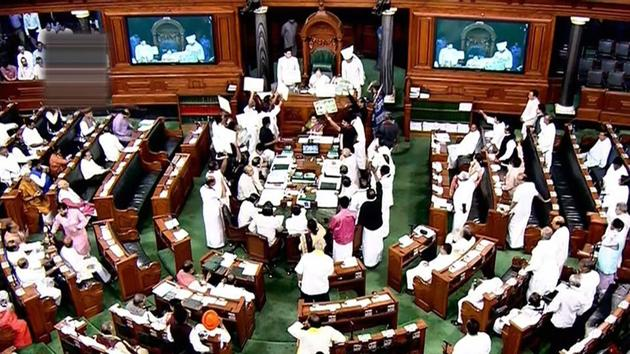 A view of the Lok Sabha in New Delhi on Tuesday.(PTI Photo)