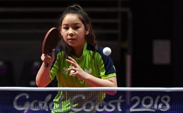 Eleven-year-old table tennis player Anna Hursey of Wales hitting a return during training ahead of the 2018 Gold Coast Commonwealth Games.(AFP)
