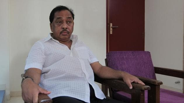 Rane, after being sworn in as a member of the Rajya Sabha on Tuesday, said he would not merge his party with the BJP as the Shiv Sena is part of the state government.(HT FILE)