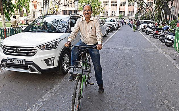 Narendra Salunkhe, superintendent engineer and project officer says department's major role is to create awareness about the bicycle plan and also to bring back cycling days.(Pratham Gokhale/HT Photo)