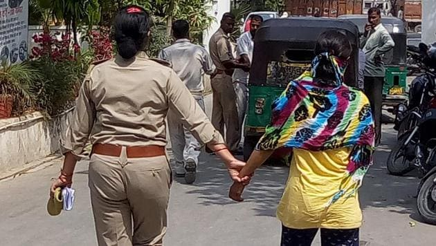 The 17-year-old girl was detained and the woman teacher arrested on Tuesday from Ghaziabad railway station.(Sakib ALi/HT Photo)